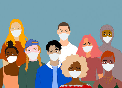 Diverse people in medical masks during epidemic