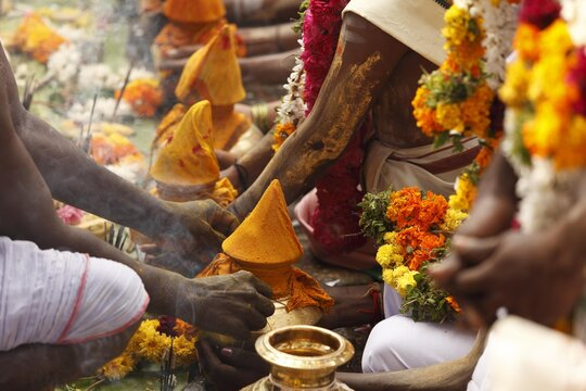 Offerings, Thaipusam festival in Tenkasi, Tamil Nadu, Tamilnadu, South India, India, Asia