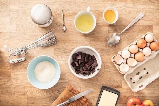 Cake ingredient kept on kitchen island at home