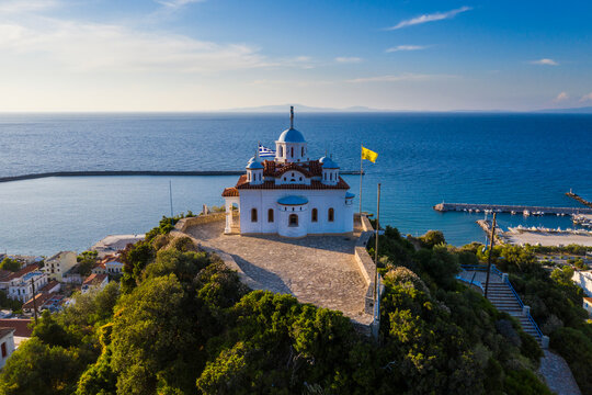 Greece, Karlovasi, Aerial view of Agia Triada church