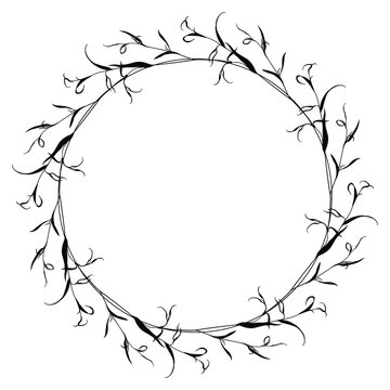 Round floral frame with delicate branches of eucalyptus or willow tree. Black silhouette on white background.