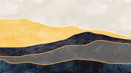 Abstract mountain landscape, Natural landscape background. Creative minimalist hand painted design for wall decoration, postcard or brochure design.vector illustration.