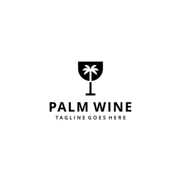 Illustration Wine glass with palm tree sign logo design template