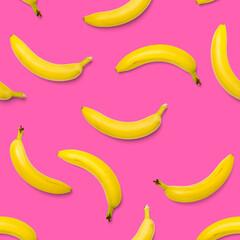 Bananas seamless pattern. pop art bananas pattern. Tropical abstract background with banana. Colorful fruit pattern of yellow banana