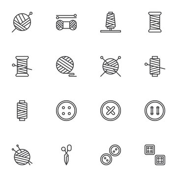 Sewing and needlework line icons set, outline vector symbol collection, linear style pictogram pack. Signs, logo illustration. Set includes icons as balls of yarn knitting needles, thread , scissors