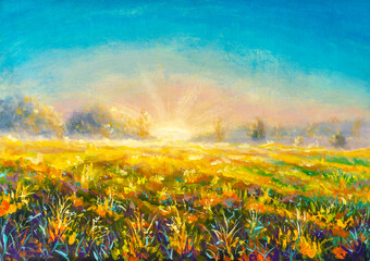 Original oil painting first rays of sun on foggy sunny field flower rural landscape painting on canvas. Impasto artwork. Impressionism art