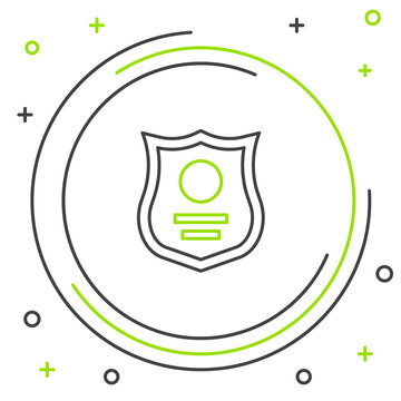 Line Police badge icon isolated on white background. Sheriff badge sign. Colorful outline concept. Vector.