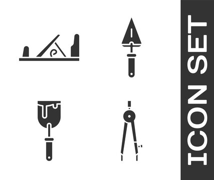 Set Drawing compass, Wood plane tool, Putty knife and Trowel icon. Vector.