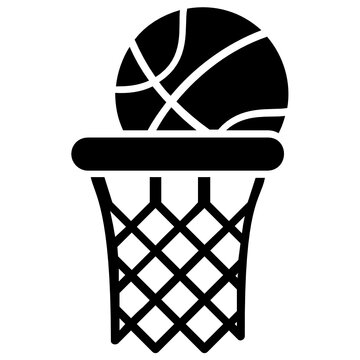A basketball rim and net basketball hoop vector icon isolated on a white background