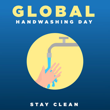 Vector Illustration Of World Hand Washing Day Congratulations, Suitable For Use of Social Media Content