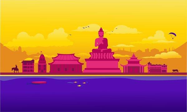 Vector cartoon illustration of the Sikkim skyline. Isolated on white background.