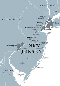 New Jersey, NJ, gray political map with capital Trenton. State in the Mid-Atlantic region of the Northeastern United States of America. The Garden State. Illustration on white background. Vector.