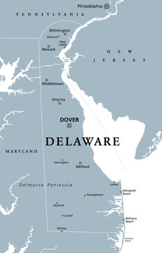 Delaware, DE, gray political map. State in Mid-Atlantic region of United States of America. Capital Dover. The First State. The Small Wonder. Blue Hen State. The Diamond State. Illustration. Vector.