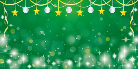緑のキラキラクリスマスイメージの横長バナー背景