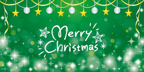 緑のキラキラクリスマスイメージの横長バナー背景/メリークリスマスのロゴ入り
