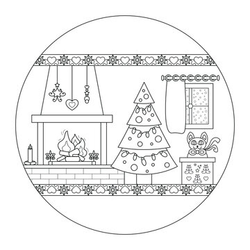 Wood fire chimney, Christmas tree and cat coming out of a gift box . Comforting atmosphere. Christmas mandala. Vector illustration.