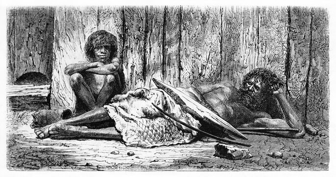 Two Australian aboriginals resting indoor on the ground in hut. Ancient grey tone etching style art by Riou and Gusmand, Le Tour du Monde, Paris, 1861