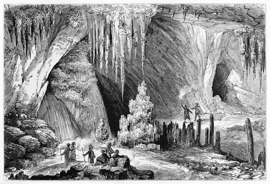 Large overall high view of the Cave of Antiparos, Cyclades islands, Greece. Stalactites on the roof. Ancient grey tone etching style art by Rouargue, Le Tour du Monde, Paris, 1861