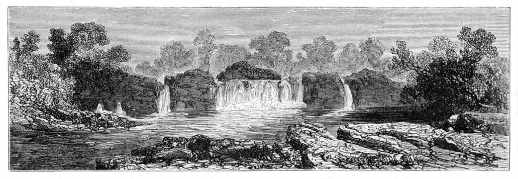 horizontal arranged front view of waterfalls along Corubal river (also known as Tomin�), Guinea. Ancient grey tone etching style art by Sabatier, Le Tour du Monde, Paris, 1861