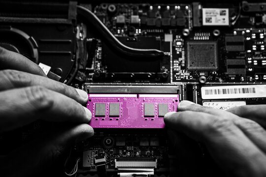 Close-up on the pink RAM memory that the hands of the service technician insert into the slot on the laptop computer.
