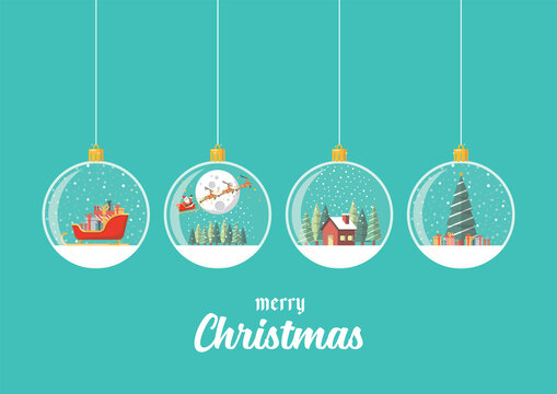 Set of Merry christmas glass balls hanging on blue background