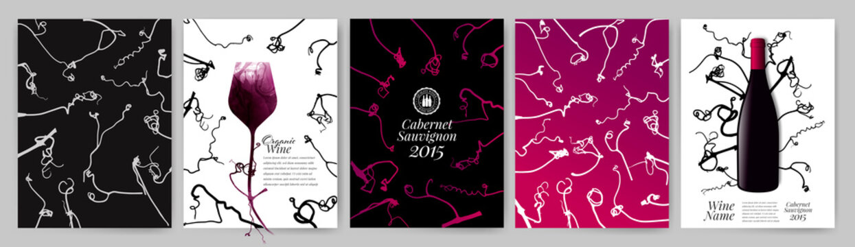 Silhouettes of vine tendrils, grape tendrils. Templates with decorative stationery designs. Vector