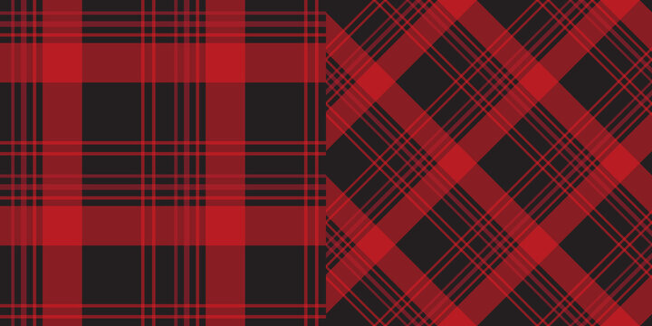 Red and black plaid pattern collection. Horizontal and diagonal textile fabric design for pillows, shirts, dresses, tablecloth etc.