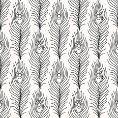 Thin line peacock tail pattern. Art deco repeat feathers pattern. Seamless vintage vector background. Luxury decorative ornamental wallpaper.