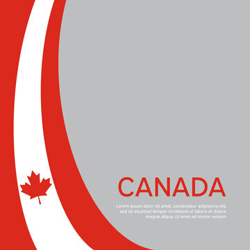 Abstract waving flag of canada. Creative background in canada flag colors for holiday card design. National Poster. State canadian patriotic cover, business booklet, flyer. Vector tricolor flat design