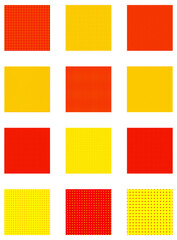 Pop-art, pointillist-pointillism seamless red, yellow circles, dots, dotted pattern, circles background. Pattern, background set
