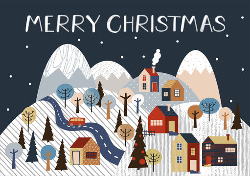 Merry Christmas vector illustration. Snow covered little town.
