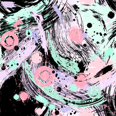 seamless abstract background pattern, illustration with circles, waves, paint strokes and splashes