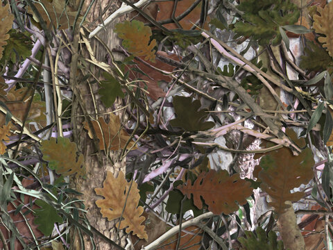 Realistic forest camouflage. Seamless pattern. Tree, branches, green and brown oak leaves. Useable for hunting and military purposes.