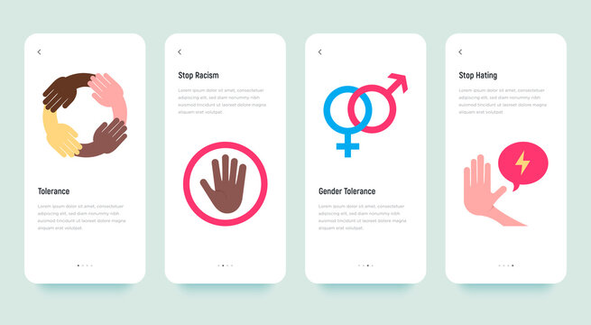 Mobile user interface with torelance flat icons: stop hating, no to racism, human equality, gender tolerance. Vector illustration, template with copy space.