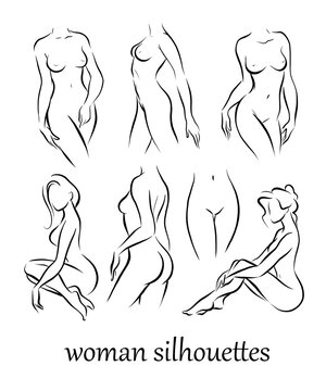 Collection of naked beautiful woman silhouettes in different poses isolated on white background. Intimate symbols, woman healthcare, hygiene. Sketch, contour drawing. Vector flat illustration.