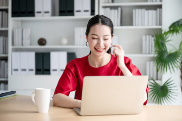 Printed roller blinds Equestrian Work from home concept, Portrait of beautiful young asian woman working on laptop in workplace