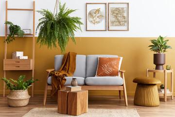 Printed roller blinds Equestrian Stylish scandinavian interior of living room with design grey velvet sofa, cube, furniture, plants, carpet, decoration and mock up poster frames. Template.
