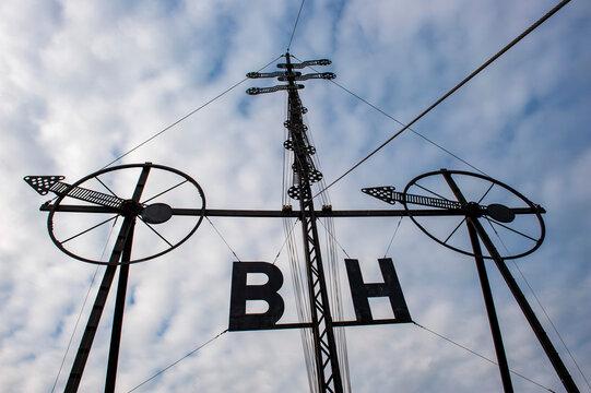 Semaphor, historische Signalanlage am Hafen von Cuxhaven, Nordsee, Niedersachsen, Deutschland, Europa,