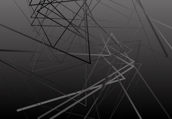 Abstract intersecting, zig-zag; criss-cross lines, strips dark black and white, grayscale background; pattern and texture. Edgy, angular lines abstract vector art Wall mural