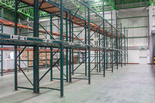 Space of shelves in the warehouse, interior of warehouse.