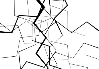 Edgy, angular lines abstract vector art. Abstract zig-zag; criss-cross, wavy intersected lines, stripes black and white, monocrome background; pattern and texture. Wall mural