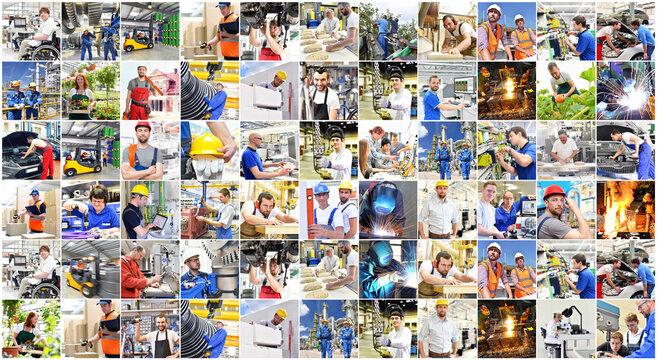 Berufe im Handwerk, Industrie, Logistik - Männer und Frauen bei der Arbeit - Portraits Menschen bei der Arbeit // collage Professions in trade, industry, logistics - Men and women at work