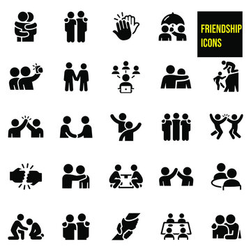 Friendship Icons stock illustration. hugs, arms around shoulders, high fives, selfies, holding hands, social network, assistance, handshake, waving, fist bump, eating out together, lifting up