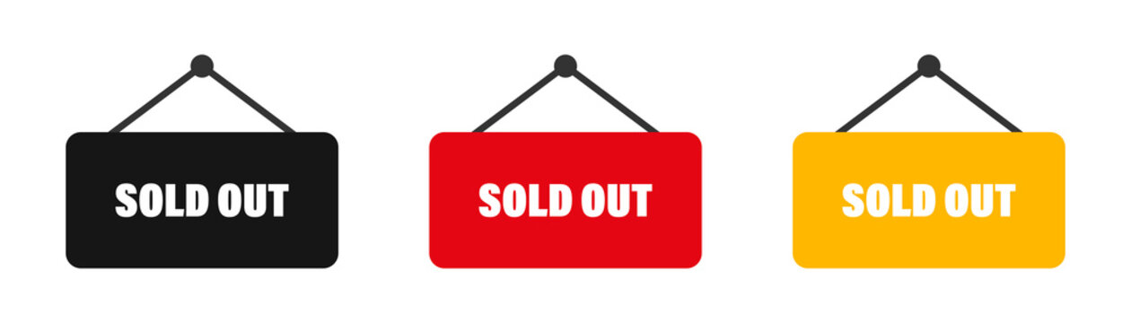 Sold out sign collection. Vector banner set. Label soldout badges.