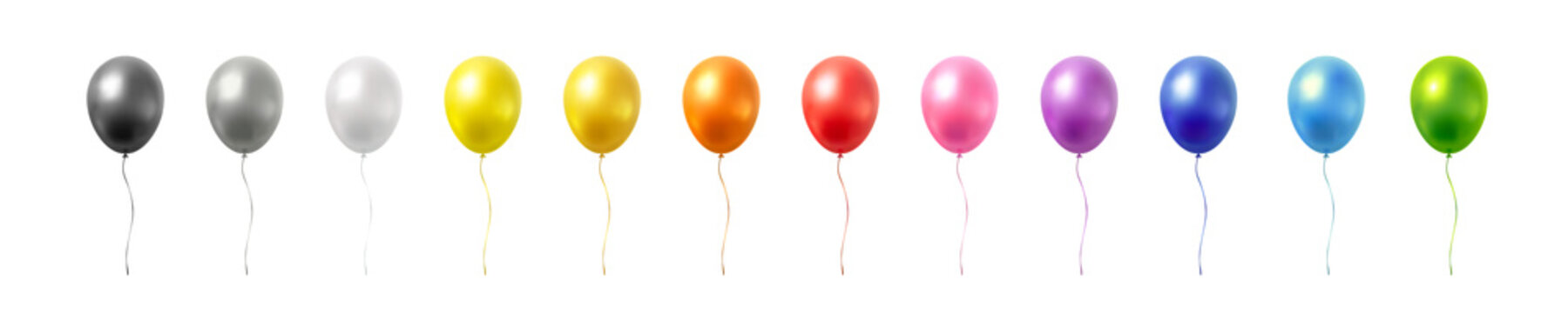 Balloon set isolated on white background. Vector realistic gold, silver, golden colorful and black festive 3d helium balloons template for anniversary, birthday party design
