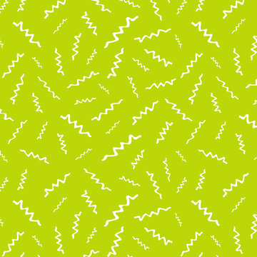 Seamless pattern with modern white squiggle strokes lime green background paper