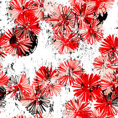 floral seamless pattern background, with paint strokes and splashes