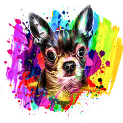 colorful background art with Chihuahua