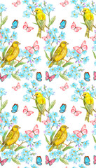 seamless texture with yellow birds and blue flowers, flying butterflies. watercolor painting