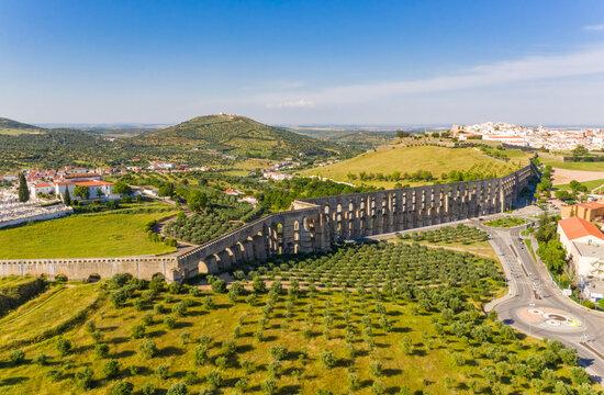 Aerial view of Amoreira Aqueduct in the city of Elvas, Portugal.